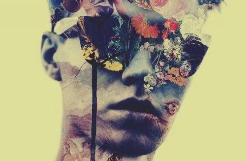 Człowiek w okularach w kwiaty