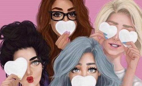 Cztery dziewczyny z sercami z papieru