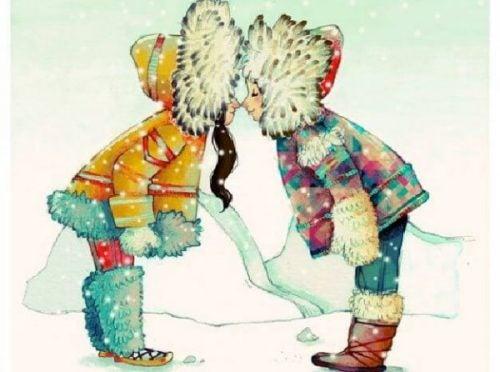 Dwaj eskimosi przytulają się nosami