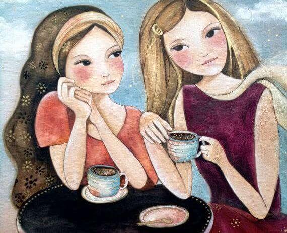Dwie przyjaciółki na kawie.