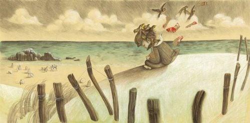 Dziecko na plaży - samotność