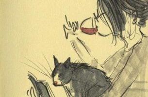 Dziewczyna pijąca wino i kot