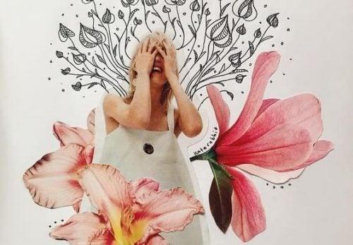 Dziewczyna śmieje się wśród kwiatów