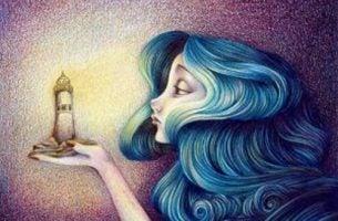 Kobieta latararnia morska