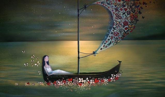 Dziewczyna na łodzi.
