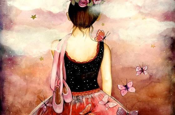 Wspomnienia - dziewczyna z motylem na ramieniu.