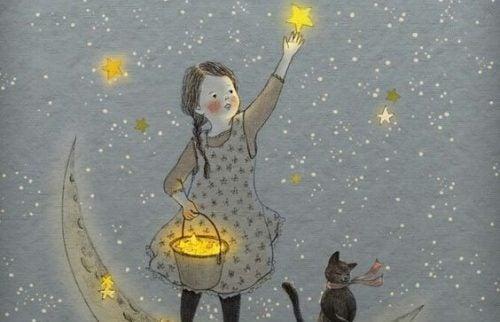 Dziewczynka zbiera gwiazdy