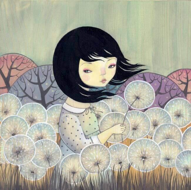 Dziewczynka i dmuchawce.