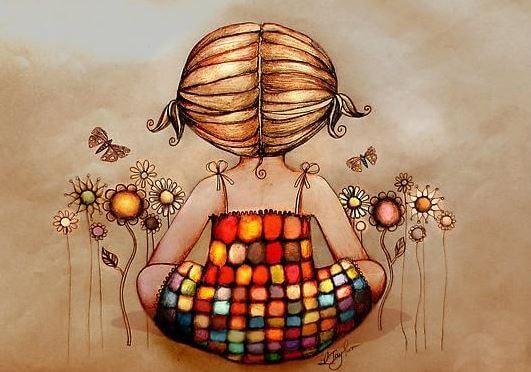 Dziewczynka w kolorowej sukience.