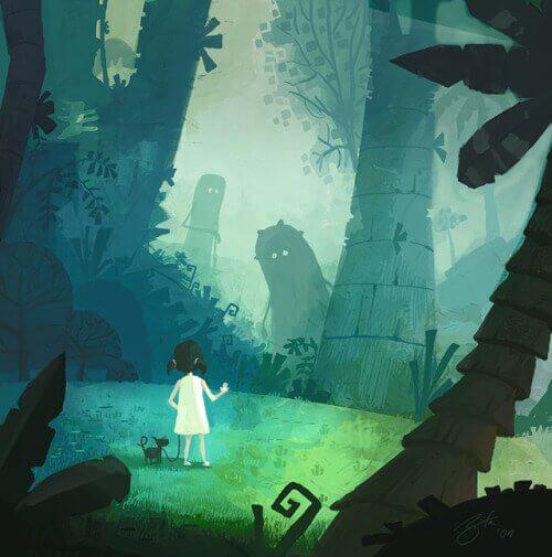 Dziewczynka w lesie i potwory.