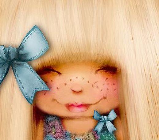 Dziewczynka z niebieskimi kokardkami.