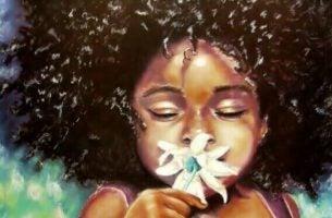 Dziewczynka z kwiatkiem.