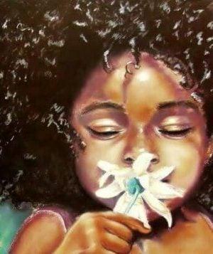 Pozytywne emocje. Dziewczynka z kwiatkiem.