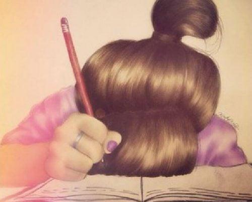 Najgorszy błąd? Dziewczynka z ołówkiem. załamana pisaniem.