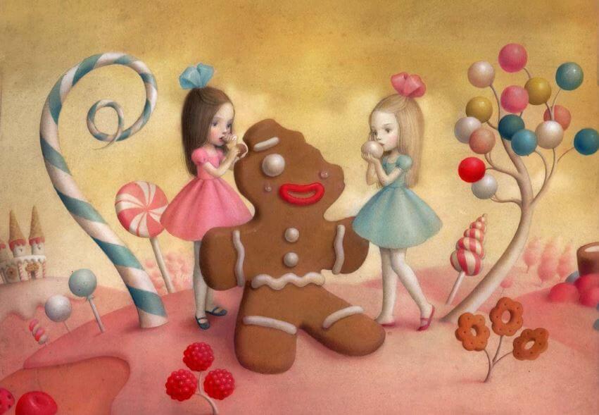 Dziewczynki zjadające pierniczek.