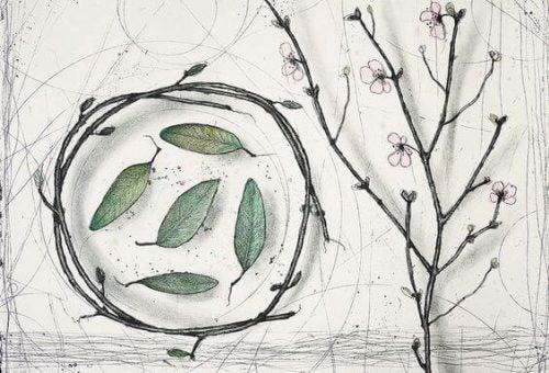 Gałąź drzewa i liście w kręgu