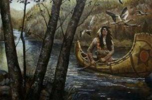 Indianin w kanoa