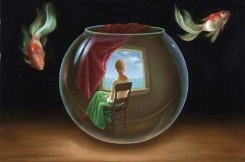 Kobieta w szklanej kuli