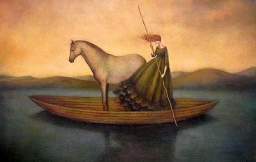 Czas upływa - Kobieta i koń na łodzi