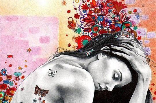 Kobieta i motyle.