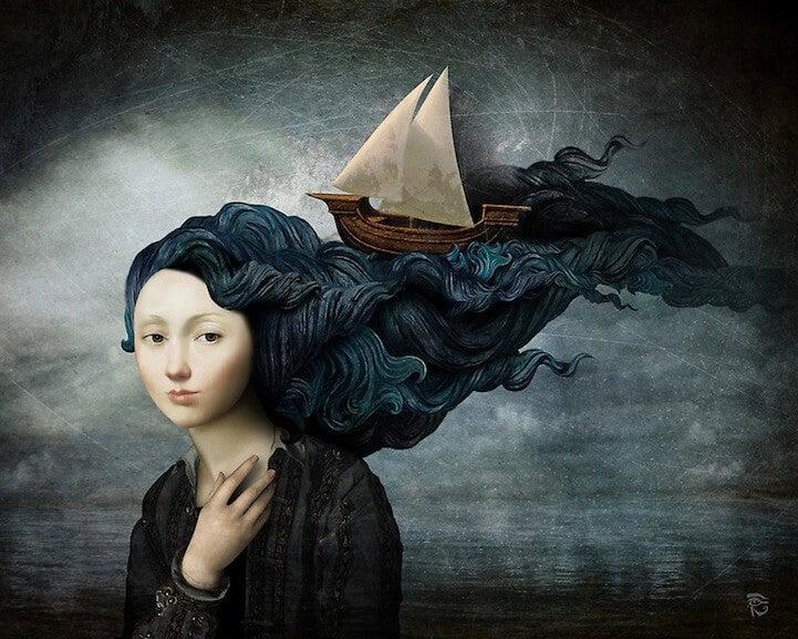 statek we włosach