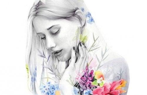 Kobieta i kolorowe kwiaty