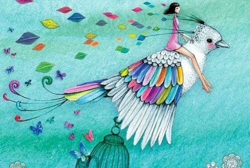 Kobieta leci na ptaku