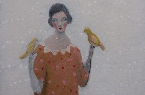 Kobieta z ptakami - malowidło