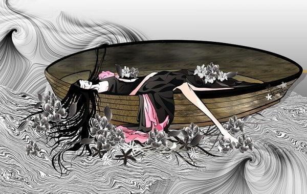 Kobieta w łodzi.