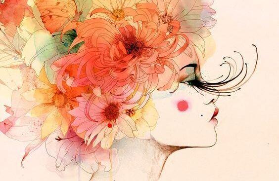 Kobieta z kwiatami we włosach.