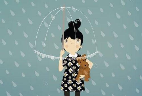 Kobieta z parasolem i psem