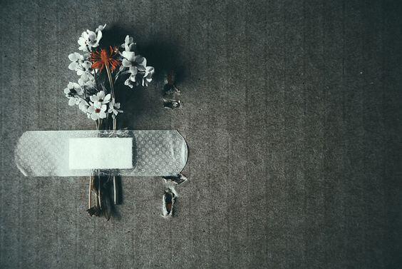 Kwiaty przyklejone plastrem.
