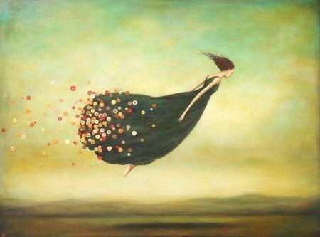Opuść przeszłość - odlatująca kobieta.