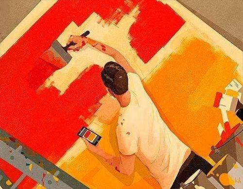 Mężczyzna maluje