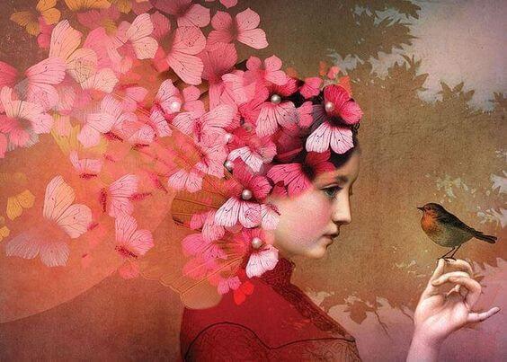 Dziewczyna z motylami i ptaszkiem.
