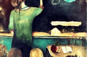 Edukacja - nauczyciel piszący na tablicy.