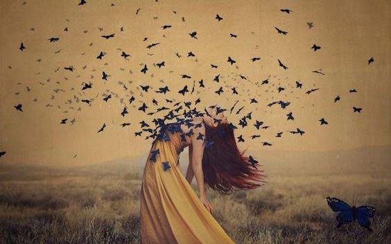 zmiany - kobieta i motyle