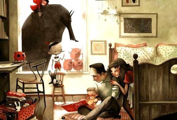Wspólnie czytająca rodzina.