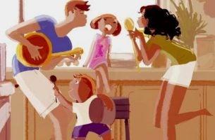 W tym domu bawimy się wspólnie. Rodzina śpiewająca razem.