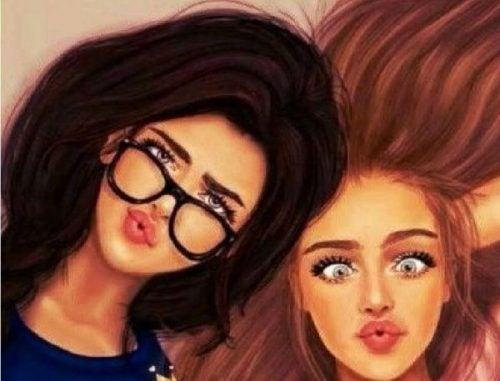 Zwariowane twarze dwóch dziewczyn