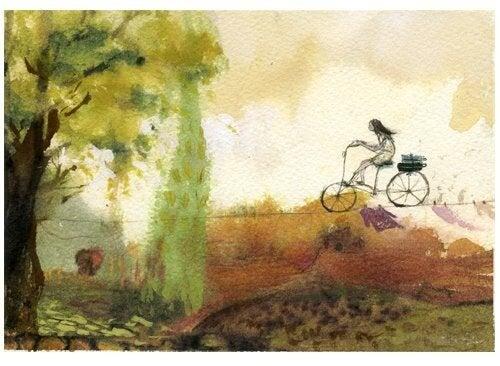 Własna ścieżka - kobieta na rowerze