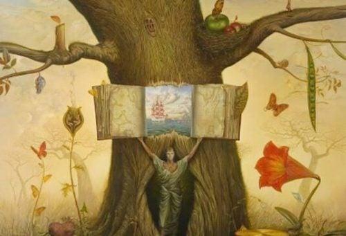 Drzewo z książkami