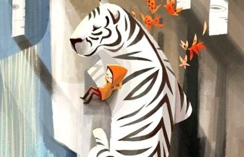 Pozytywna postawa - dziecko i tygrys