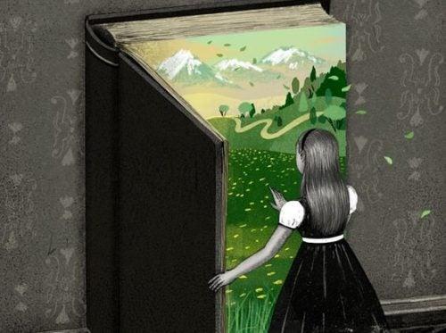 Dziewczyna otwiera książkę z zielonym ogrodem