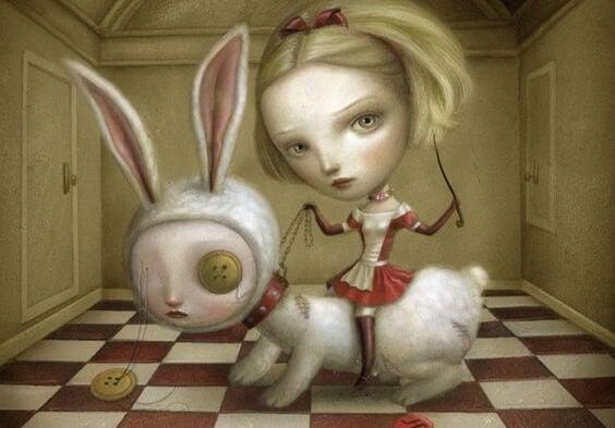 Dziewczyna z królikiem na smyczy.