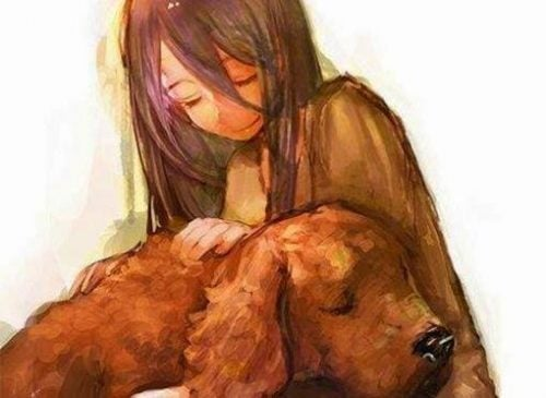 Pies leży na kolanach dziewczyny