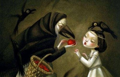 Wiedźma daje dziewczynce jabłko