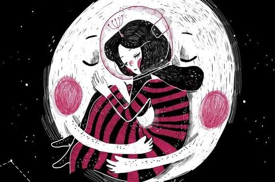 Zwinięta w kłębek kobieta i księżyc.