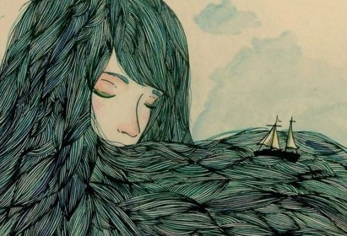 Kobieta, której włosy są morzem dla statków.