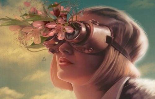 Kobieta w okularach z kwiatami
